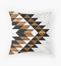Urban Tribal Pattern 9 - Aztec - Concrete and Wood Throw Pillow