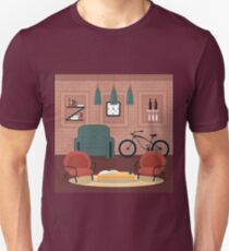Modern Interior. Living Room in Grunge Style. Room Design with Furniture and Bicycle.  Unisex T-Shirt