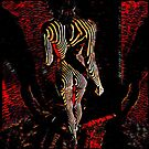5360s-MAK 3745 Abstract Art Nude Woman Walking Away Red by Chris Maher