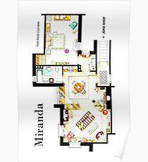 "Floorplan of Miranda's apartment from BBC's ""MIRANDA"" sitcom Poster"