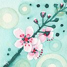 Cherry Blossoms on Teal by Carrie Alyson