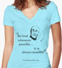 Be Kind: Dalai Lama (on light) Women's Fitted V-Neck T-Shirt