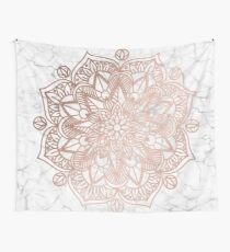 Rose Gold Mandala on Marble Wall Tapestry