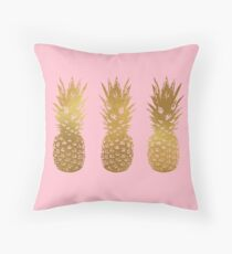 Pink and Gold Pineapple Throw Pillow