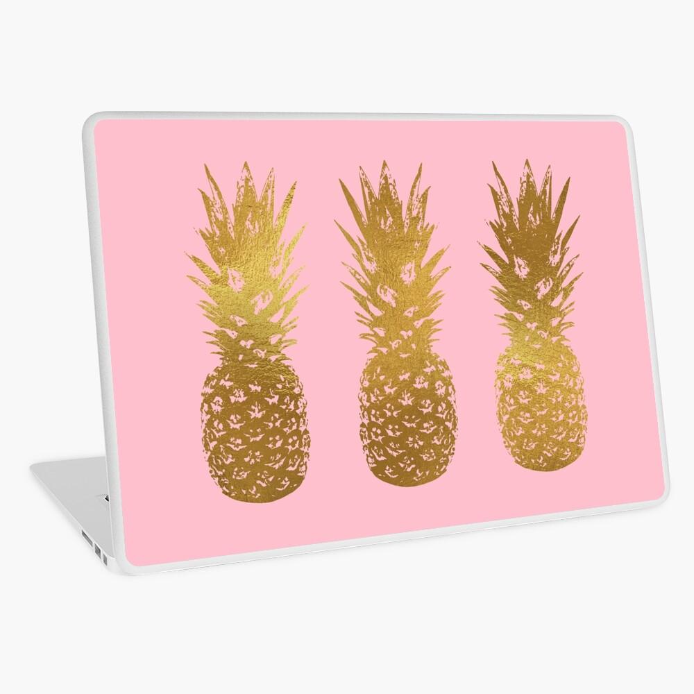 Rosa und Gold Ananas Laptop Folie