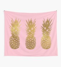 Pink and Gold Pineapple Wall Tapestry