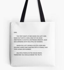 jersey shore anonymous letter to sammi Tote Bag