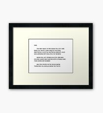 jersey shore anonymous letter to sammi Framed Print