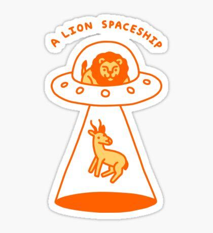 A Lion Spaceship Glossy Sticker