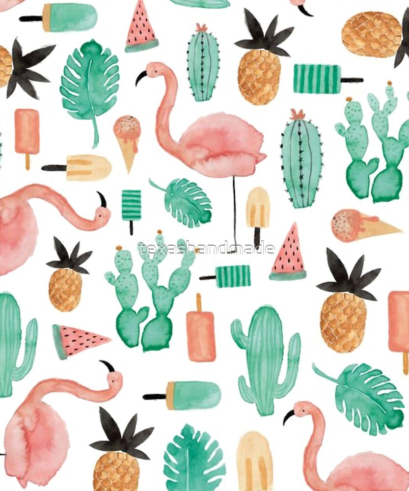 Flamingos, Cactus and Pineapples by texashandmade