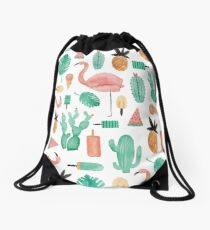 Flamingos, Cactus and Pineapples Drawstring Bag