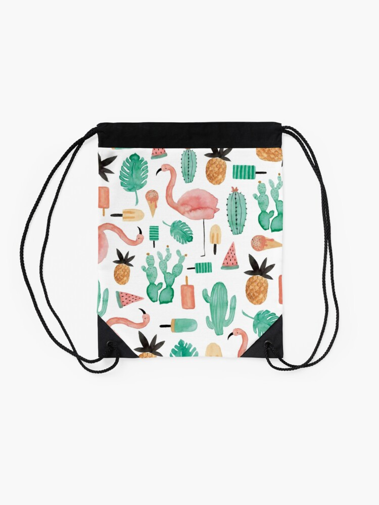 Alternate view of Flamingos, Cactus and Pineapples Drawstring Bag