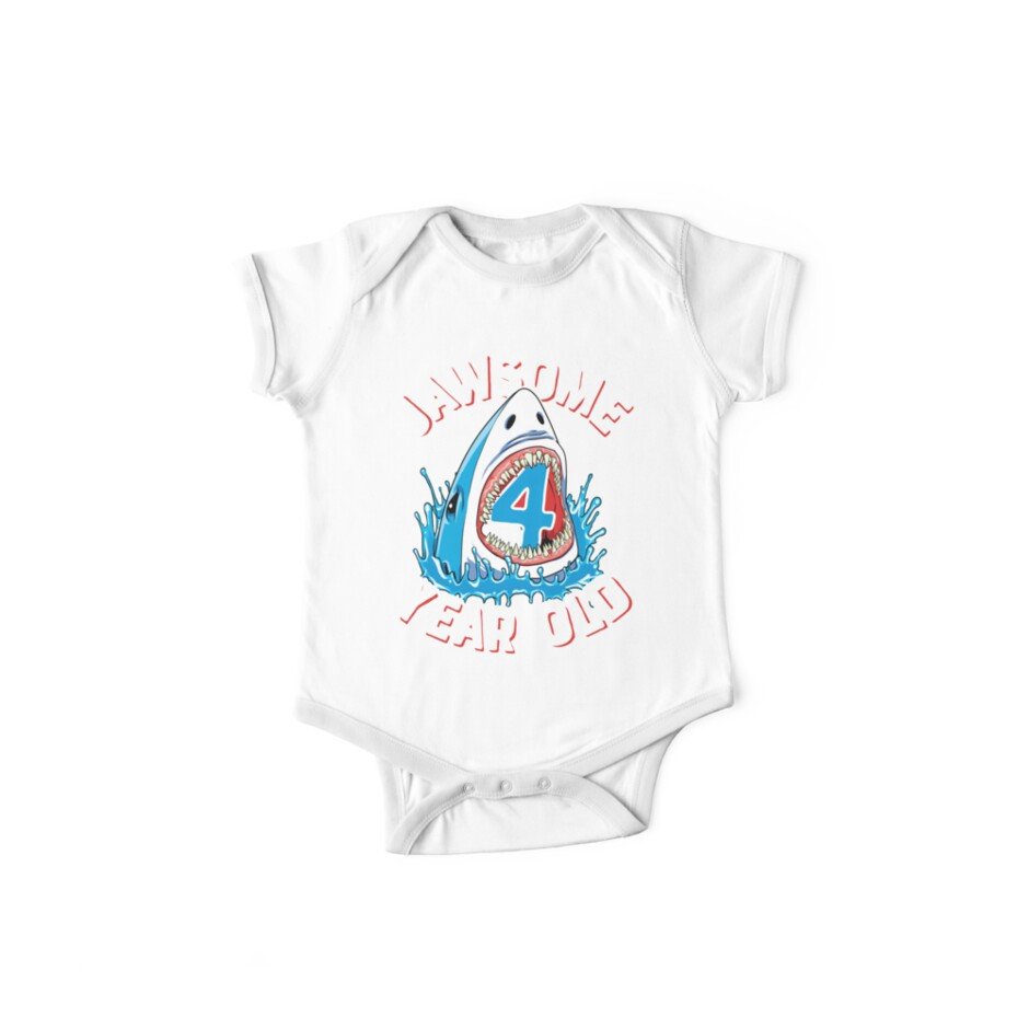 Jawsome 4 Year Old Shark T Shirt Kids 4th Birthday Boys Tees One