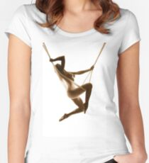 Nude Woman Suspended On Silk Sepia On White Fitted Scoop T-Shirt