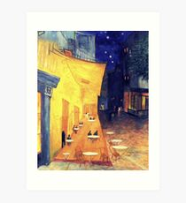 """My Version /  Homage  to Vincent   """"  The Cafe' Terrace  at Night  """"     My Paintings                        Art Print"""
