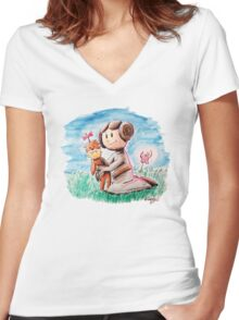 Princess Leia and Wookiee Doll Chewbacca STAR WARS fan art Women's Fitted V-Neck T-Shirt