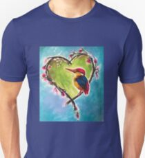 Sweet Kingfisher in Floral Heart Wreath  Unisex T-Shirt