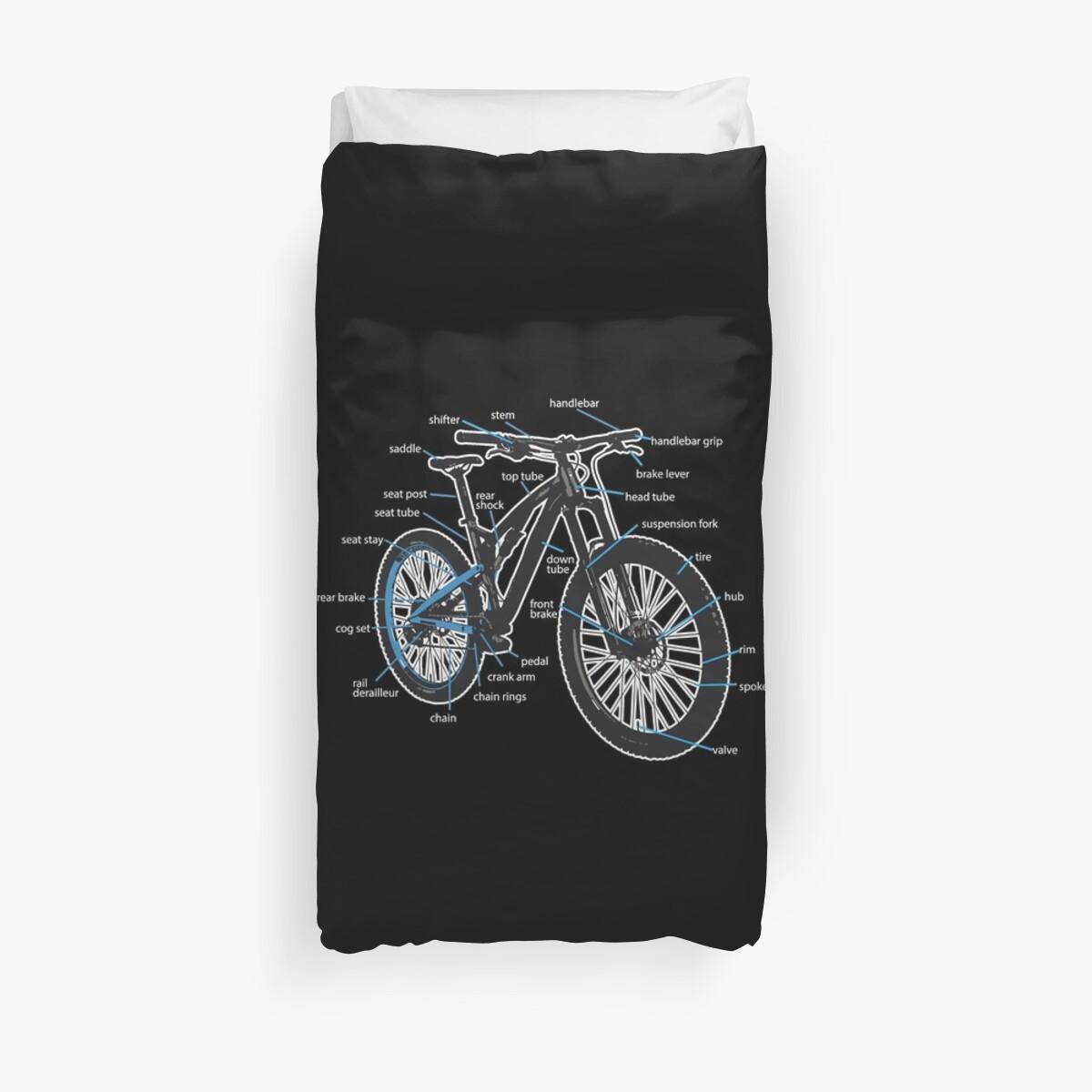 Bike Diagram Parts Of A Mountain Bikes Duvet Covers By Printedkicks Bicycle Brake