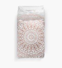 Marble mandala - beaded rose gold on white Duvet Cover
