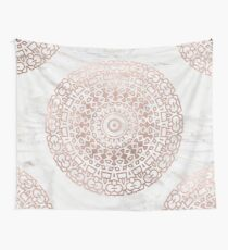 Marble mandala - beaded rose gold on white Wall Tapestry