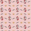 Royal Pink Flamingo Crowns and Flamingo pattern #3 von Sturm Design