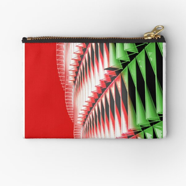 Red green white abstract structure Zipper Pouch
