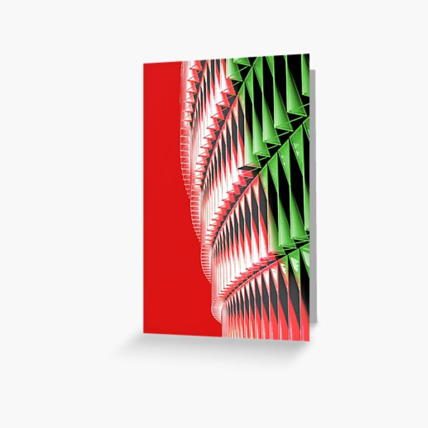 Red green white abstract structure Greeting Card