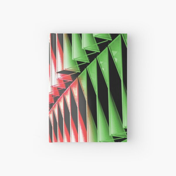 Red green white abstract structure Hardcover Journal