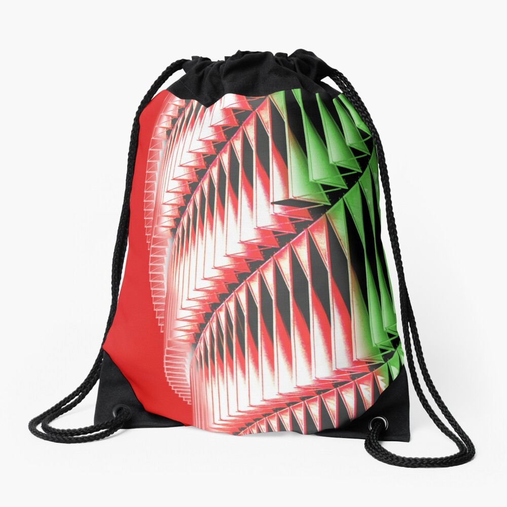Red green white abstract structure Drawstring Bag
