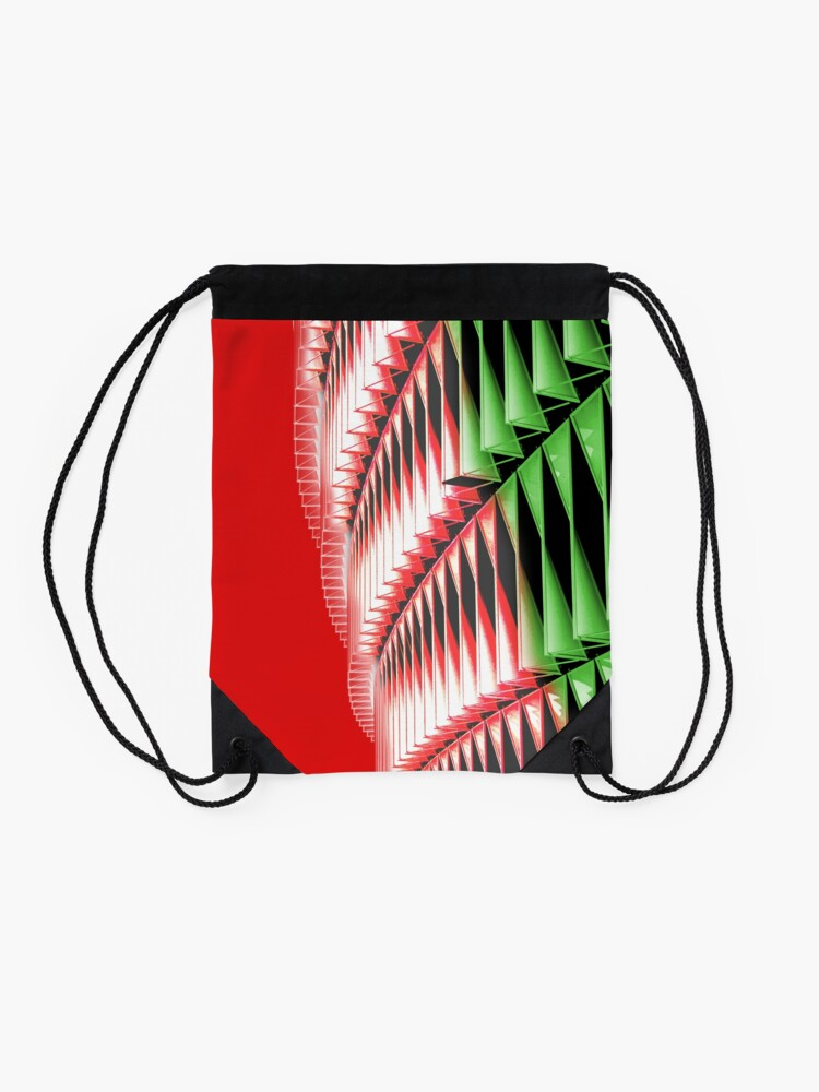 Alternate view of Red green white abstract structure Drawstring Bag