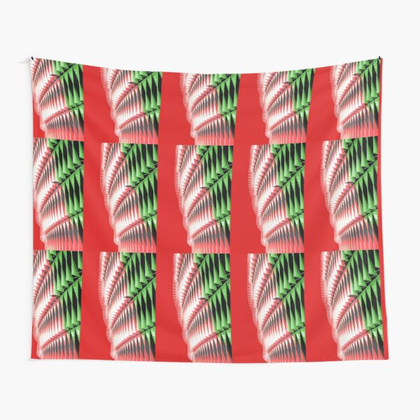 Red green white abstract structure Tapestry
