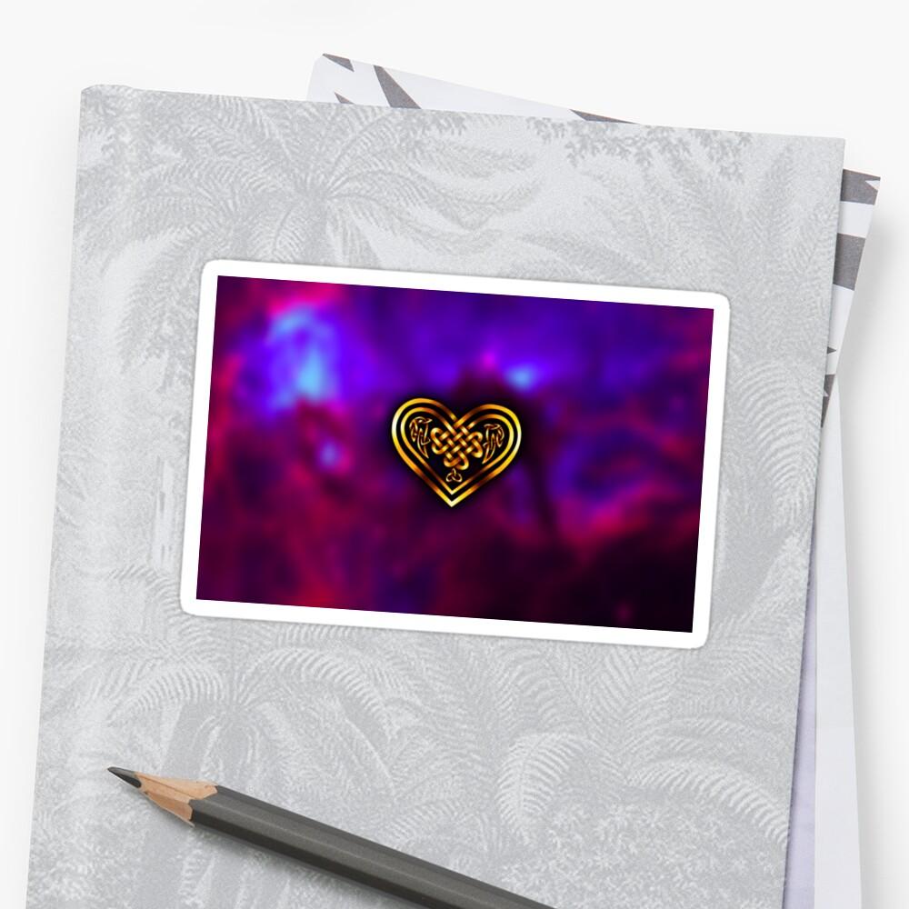 Celtic Heart - Purple and Gold Sticker