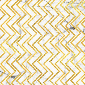 Gold + White Marble Zig-Zag Pattern (1)  by lewbarberdesign