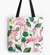 Summer Pink Flamingos Tote Bag