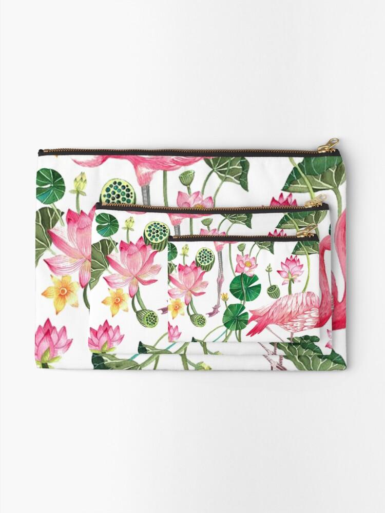 Alternate view of Summer Pink Flamingos Zipper Pouch