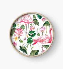 Summer Pink Flamingos Clock