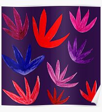 Exotic Floral : Red/Pink/Purple Poster
