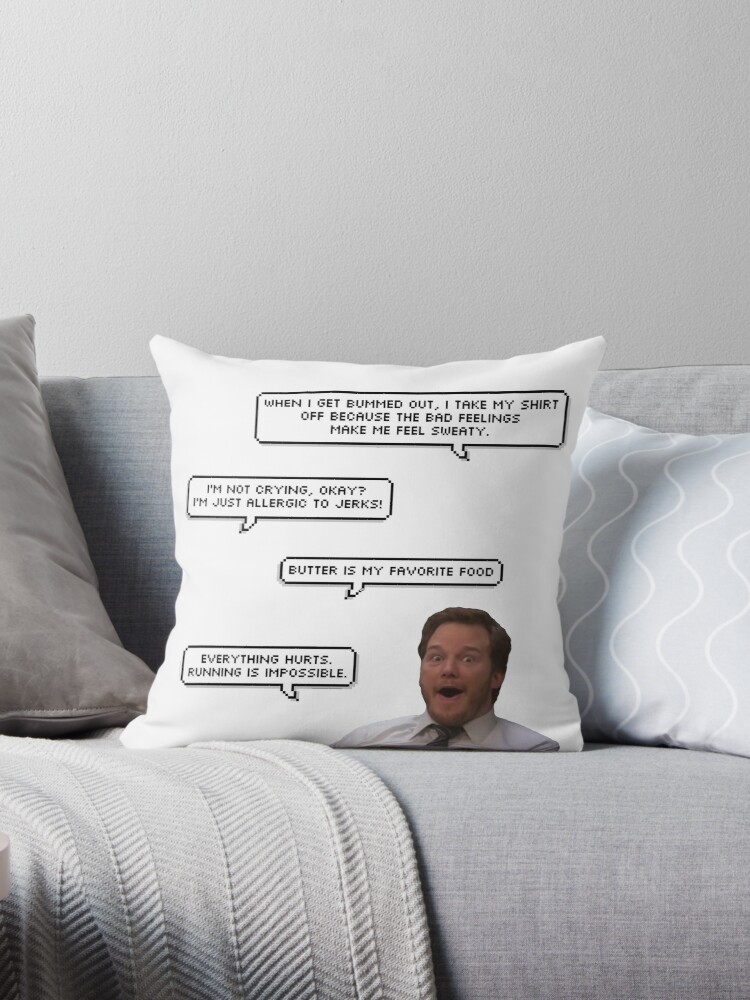 \'quotes of the great andy dwyer\' Throw Pillow by oof k