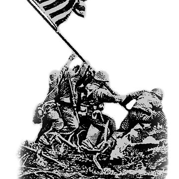 IWO JIMA, Engraving from U.S. postage stamp, 1945 issue, commemorating the battle by TOMSREDBUBBLE