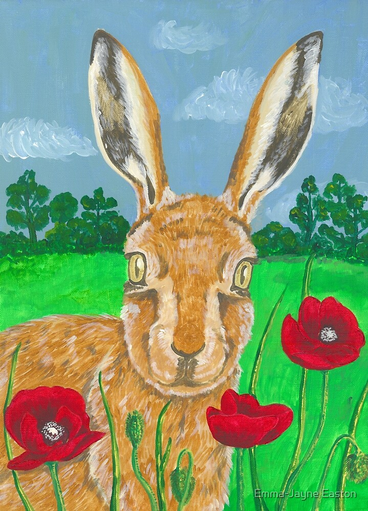 Poppies and Hare  by Emma-Jayne Easton