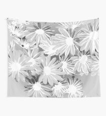 Gray Watercolor Flowers Wall Tapestry