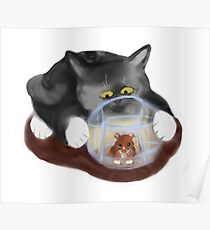 Hamster Ball and Curious Kitten Poster