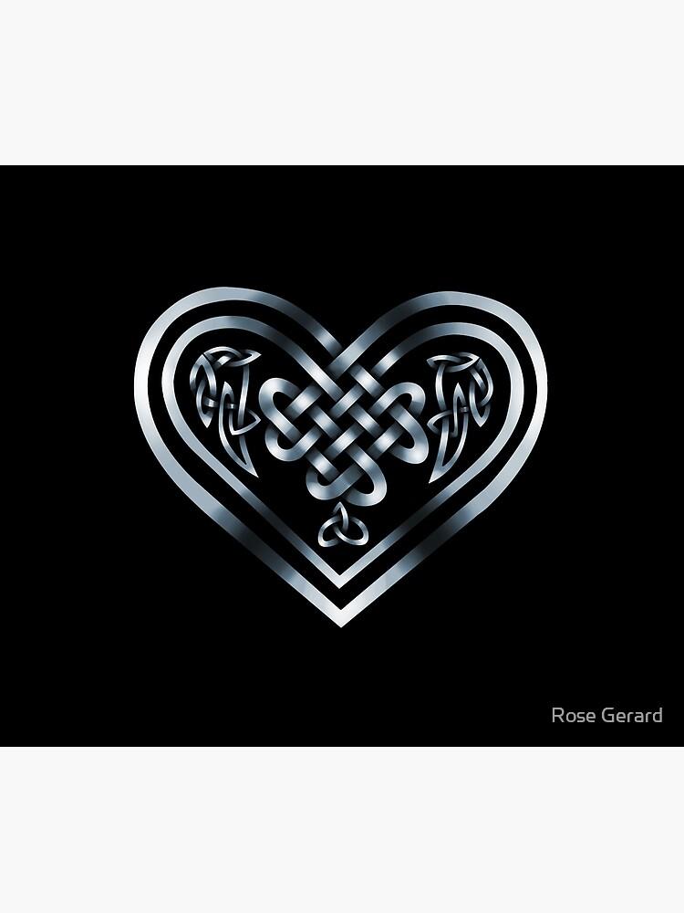 Celtic Heart - Silver on Black by arkadyrose