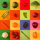 Bright Fruit and Vegetable Collage by Pamela Maxwell