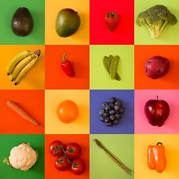 Bright Fruit and Vegetable Collage by pamela4578
