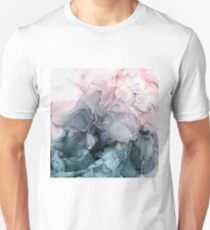 Blush and Payne's Grey Flowing Abstract Painting Slim Fit T-Shirt