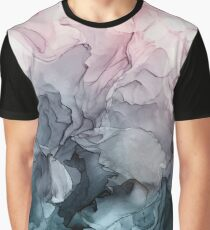 Blush and Payne's Grey Flowing Abstract Painting Graphic T-Shirt