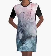 Blush and Payne's Grey Flowing Abstract Painting Graphic T-Shirt Dress