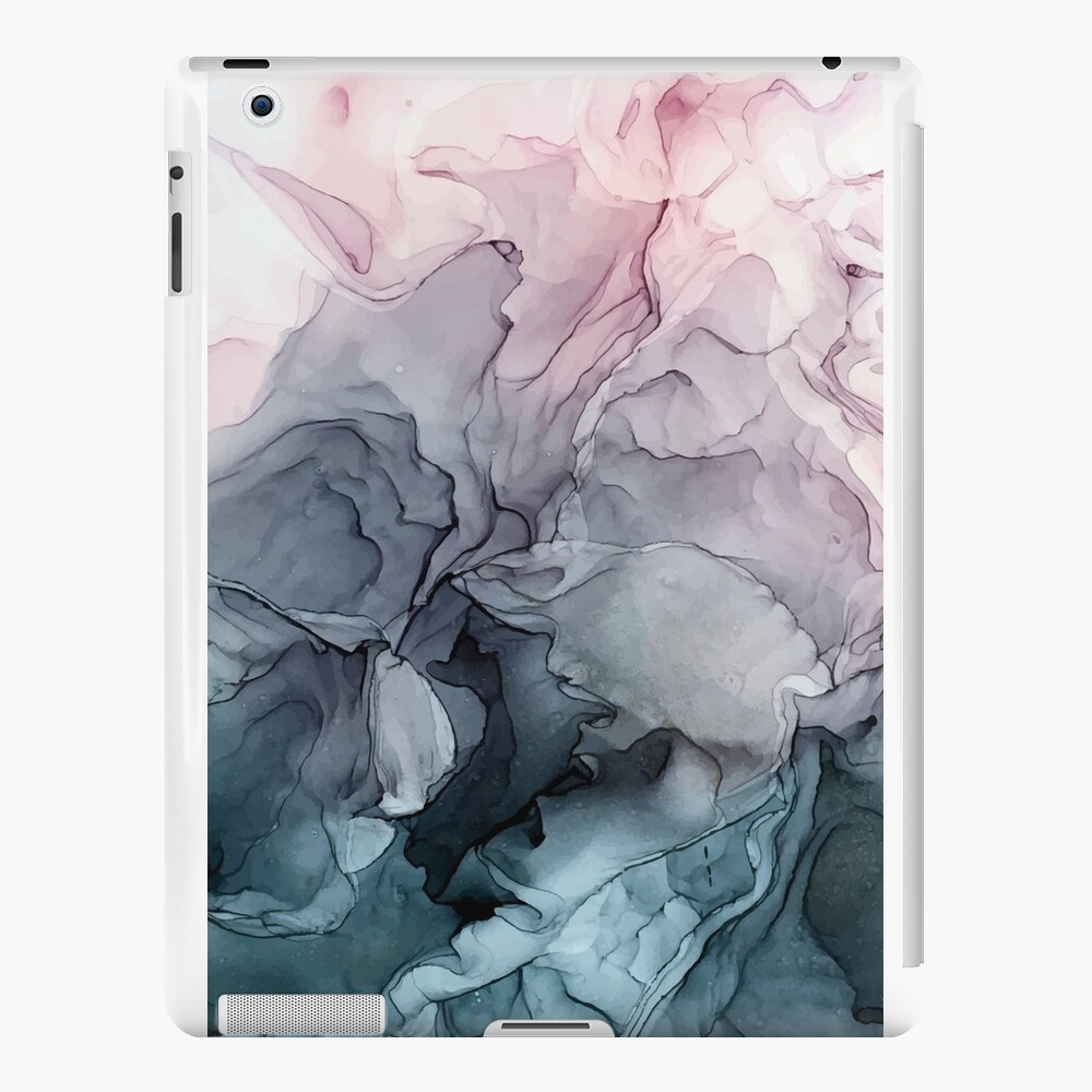Blush and Payne's Grey Flowing Abstract Painting iPad Cases & Skins