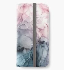 Blush und Paynes graue fließende abstrakte Malerei iPhone Flip-Case/Hülle/Skin